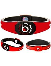 Bracelet Ionique Balance POWER - Equilibre Puissance - 100 pourcent coton jersey, Rouge, Medium - 19cm / 7.5in