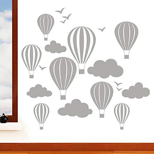 Enfants de ballons à air chaud avec nuages et oiseaux Sticker mural – Art Stickers en vinyle, pour chambre d'enfant, facile à appliquer, sans applicateur, facile – enlever (Veuillez Choisir votre taille et couleur grâce à la sélection Boîtes) – par Rubybloom Designs, argent, Small 58cm x 55cm