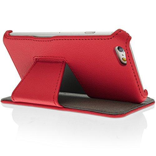 igadgitz Premium Folie Grün PU Ledertasche Schutzhülle für Apple iPhone 6 & 6S 4.7 Zoll Case Cover Mit Betrachtungs Stand + Displayschutzfolie Rot