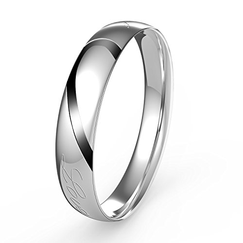 "UHIBROS Men's Promise ""Real Love"" Band Stainless Steel Rings (Men Size 10)"