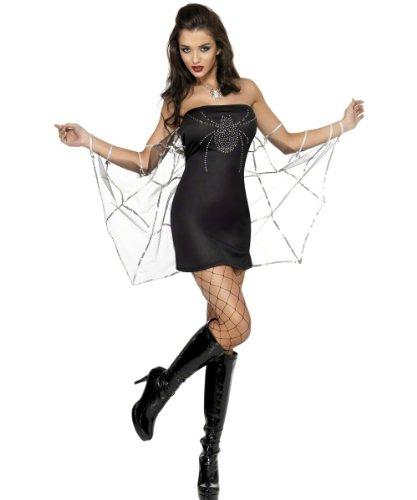 Sexy Spinnenkostüm Kostüm Minikleid Spinne Witwe schwarze für Damen Kostüm Halloween Damenkostüm Halloweenkostüm Gr. 34 (XS), 36/38 (S), 40/42 (M), (Halloween Witwe Schwarze Kostüme)