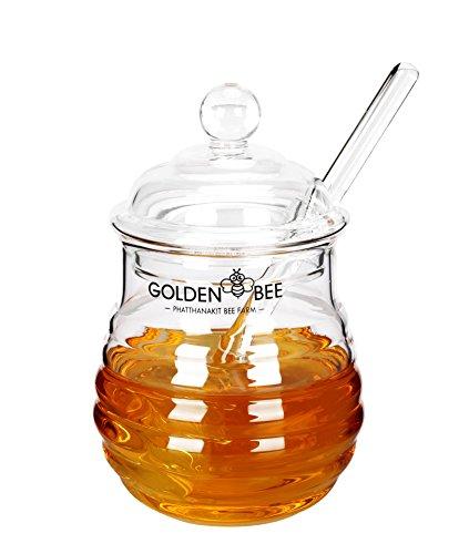 Fecihor Glas Honigbehälter mit Glas Honig Löffel Zum Servieren von Honig und Sirup, 9 Ounces Topf, Topf Mit Löffel