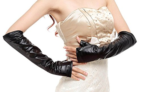 DIDIDD Frauen 'S Leder mit Rüschen besetzte Handschuhe Lange Halbe Finger SMS Touchscreen Soft Black (Rüschen Spitzen Handschuhe Länge Handgelenk)