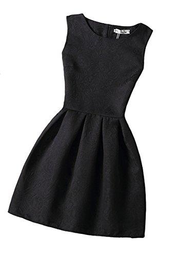 Blansdi Femme Elegant Rétro Hepburn' Classique Robe de Soirée/Cocktail/Cérémonie /Mine jupe Col rond sans Manches Chic motif différent Noir6300