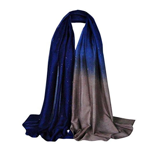 Schals Damen, ABsolute Damen Glitzer Gradient Style Pashmina Wrap Schal Weiche Stola Long Voile Schal (180*90CM, Gradient F)