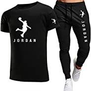 Tuta Intera per Uomo, T-Shirt da Jogging Uomo Jordan E Pantaloni Moda 2 Pezzi Tuta Estiva Slim S-2xl