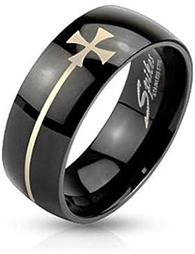 Paula & Fritz® Ring aus Edelstahl Chirurgenstahl 316L schwarz Abdruck Eisernes Kreuz vergoldet verfügbare Ringgrößen...