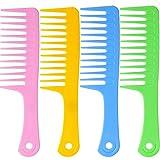4 Stück 9 1/2 Zoll Antistatische Große Zahn Detangle Kamm, breite Zahn Haarkamm Salon Shampoo Kamm für Dickes Haar Langes Haar und Lockige Haare