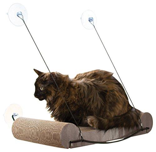 K&H Pet Products EZ Mount Katzenschwelle und Nachfüllpackung - Perfektes Katzenspielzeug aus Karton und Sonnenlounge-Spot in Einem, Fensterbankauflage für Katzen, 11