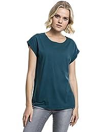 971749619a47 Urban Classics Damen T-Shirt Ladies Extended Shoulder Tee, Baumwollshirt  mit Turn-Up…