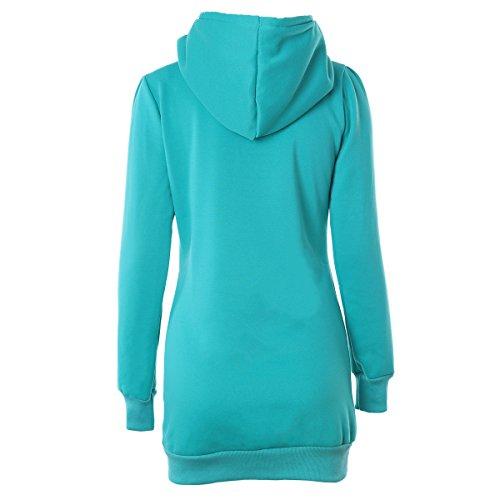 Felpa Donna Sweatshirt Con Cappuccio Taglie Forti Pullover Hoody Slim Manica Lunga Inverno Colore Solido Casual Tasca Di Classico Moda Giacca Maglioni Verde