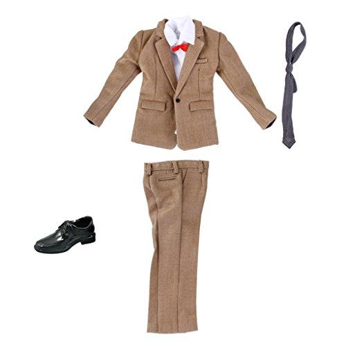 MagiDeal 1 Set 1/6 Puppenkleidung Geschäftsmann Formal Anzug - Jacke + Hosen + Hemd + Gürtel +...