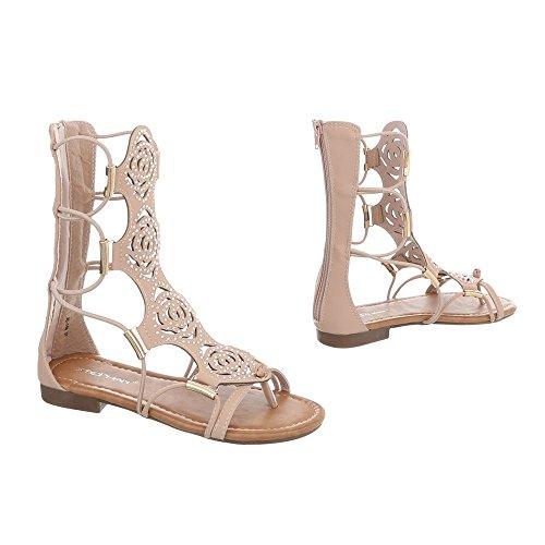 Ital-Design Zehentrenner Damenschuhe Blockabsatz Reißverschluss Sandalen Sandaletten Pink JC-169