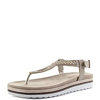 INBLU Womens 000014 Sand Platform Metallic Toe Post Sandals Size 7.5