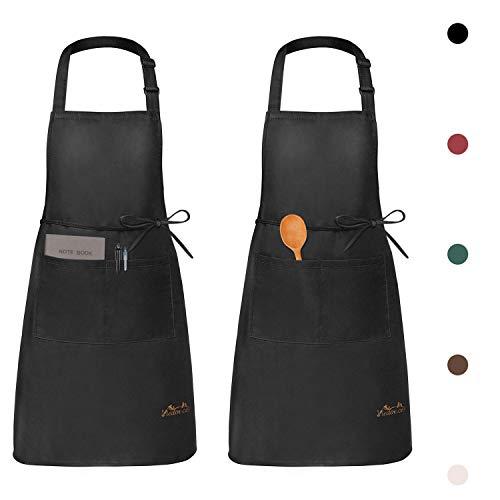 Viedouce 2 Pack Schürze,Wasserdicht Kochschürze mit Taschen,Verstellbarem Küchenschürze,Grillschürze,Latzschürze,Küchenschürze für Frauen Männer Chef-Belastbar & Einfach zu Reinigen-Schwarz (Schwarz)