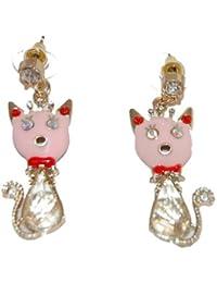 Super cute Pink Kitty gatto orecchini a forma di goccia in metallo smaltato e tempestato di cristalli (fornito in un sacchetto regalo) gioiello unico
