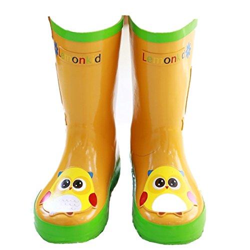 Chilsuessy Kinder Gummistiefel Regenstiefel Regenboots Cartoon Design Orange Eule