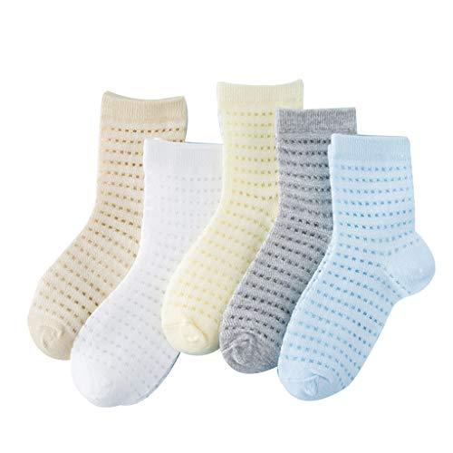 Uzinb 5 Paare Sommer-Baby-Socken-Baumwollkann Bequeme Knöchel-Längen-Baby-Socken-Jungen-Mädchen-Mischung färbt Breathable Socken -