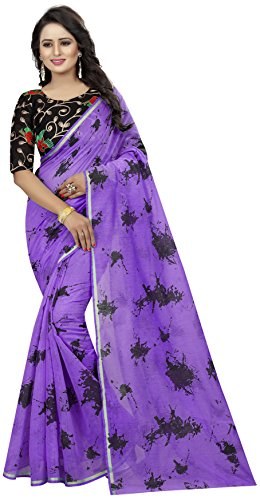 Shreeji Designer Women's Chanderi Cotton Fabric Embroidery Work and Printed Purple Color...