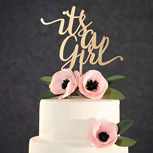 PotteLove Personalized Its a Girl Happy Birthday Cake Topper,A Girl Baby Shower Birthday Festival Party Baking Cake Topper Decor Supplies,Unique Acrylic Cake Topper