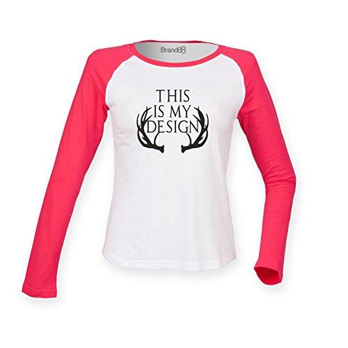 Brand88 - This Is My Design, Damen Langarm Baseball T-Shirt Weiss & Rosa