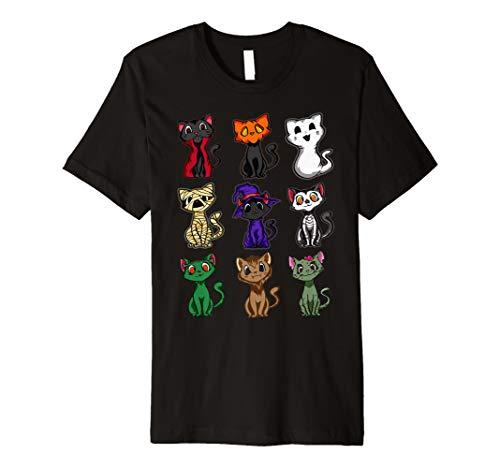 Schwarze Katze Halloween T-Shirt Lustige Katze Halloween