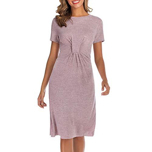 MERICAL Robe Vintage décontractée à Manches Courtes et à Manches Courtes pour Femme