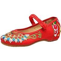 Mujeres Mary Jane Lienzo Zapatos Budismo Totembordadas de cuña Suave Zapatos Chinos Zapatos Planos Casuales Zapatos de Baile Casual Zapatos de Party Dress