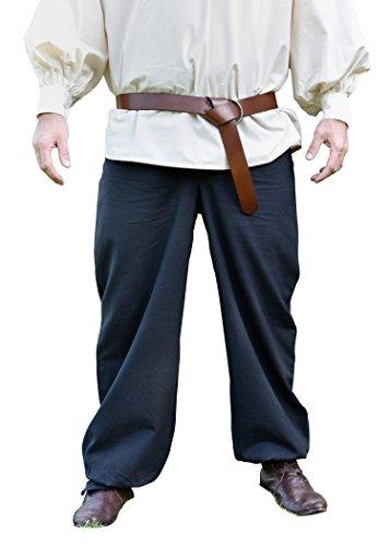 Kostüm Bundhosen - Battle-Merchant Bundhose Mittelalter, schwarz/Wikinger-Hose (XXXL, Schwarz)