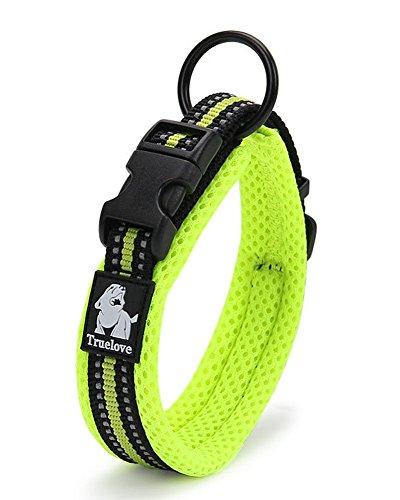 Vivi Bear Hunde-Halsband Gepolstert 3M Reflektierende Streifen weicher atmungsaktiver Netzstoff, komfortabel und weich Verstellbar Halsband für kleine/mittlere/große Hunde, einfaches Schnallen-Design, Grün, 8Größen -