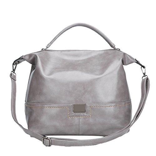 Frauen Greased Leather Top Griff Satchel Handtaschen Schultertasche Top Geldbörse,Grey-M
