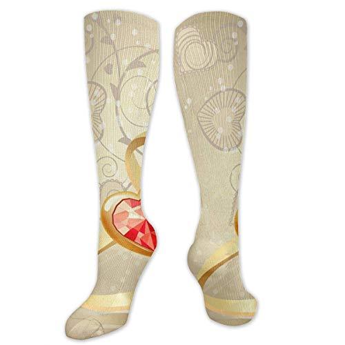 Knee High Socks Two Gold Rings Knee High Compression Stockings Athletic Socks Personalized Gift Socks for Men Women Teens Girls