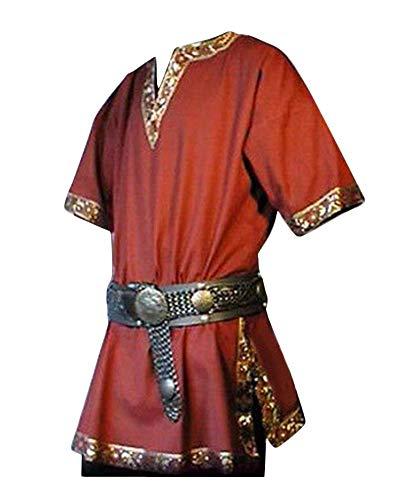 Shaoyao Herren Steampunk Kurze Ärmel Mittelalterliches Gothic Renaissance Jacke Cosplay Uniform Ohne Gürtel Rot - Lustig Mittelalterlichen Kostüm