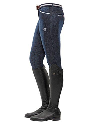 SPOOKS Reithose für Damen Mädchen Kinder, Knee-Grip-Besatz Reithosen Leggings Turnierreithose - Lucy Knee Grip Jeans - Denim S