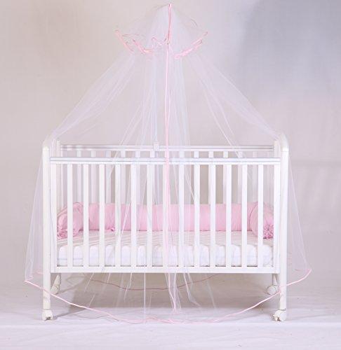 Babysanity zanzariera in tulle bianco con asta reggivelo, bordata in cotone rosa