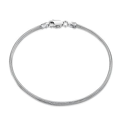 Amberta 925 Sterling Silver 1.9 mm Snake Chain Bracelet Length 8