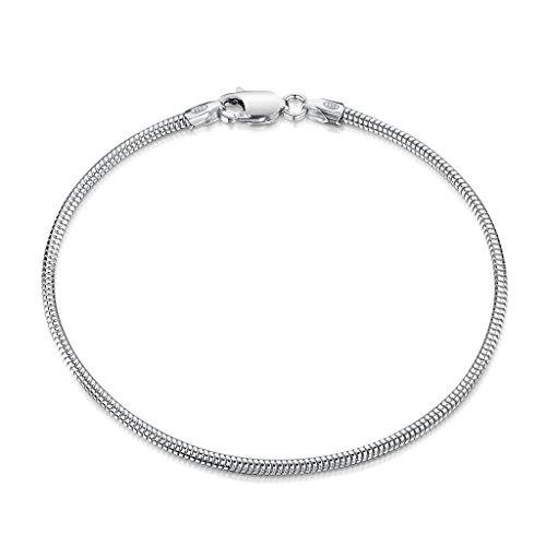 Amberta 925 Sterlingsilber Armkette - Schlangenkette - Rattenschwanz-Kette Armband - 1.9 mm Breite - Verschiedene Längen: 18 19 20 cm (18cm)
