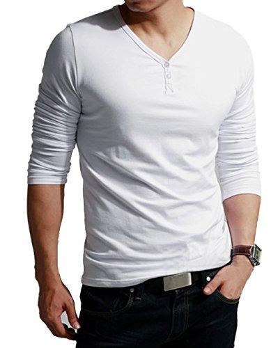 MEXI Herren V-Ausschnitt Slim Fit Langarm T-shirt Hemd lässig Oberteile Top M-XXL Weiß