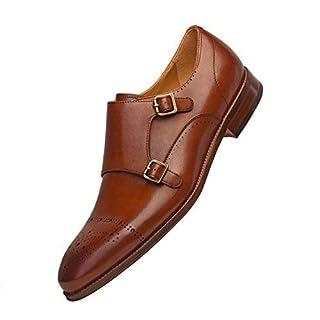 COMOTEK Men's Classic Double Monk Strap Full Grain Leather Shoes,2018 Design-Androit Tans UK6.5