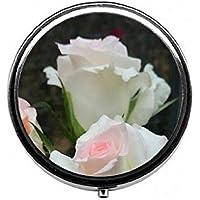 LinJxLee White Rose Portable Round Pill Case Pill Box Medicine Box Medicine Tablet Vitamin Organizer for Purse... preisvergleich bei billige-tabletten.eu
