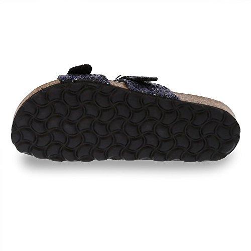 Esprit Women's Women's Black Sequined Sandals Navy