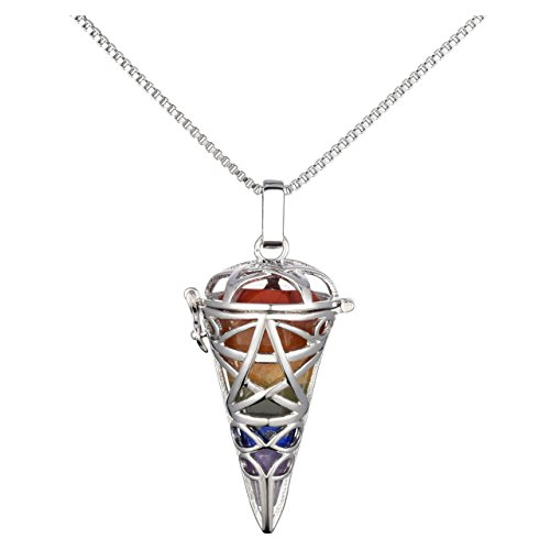 Collar con péndulo de cristal de los 7 chakras en soporte de plata, de CrystalTears; para equilibrio, reiki, curación con cristales de energía, etc.