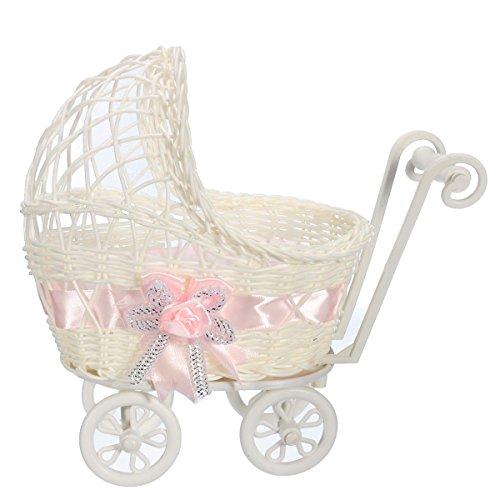 Wicker Kinderwagen Korb Baby Dusche Party Geschenk Geschenk Veranstalter Home Tisch Dekor Geschenk - Rosa ()
