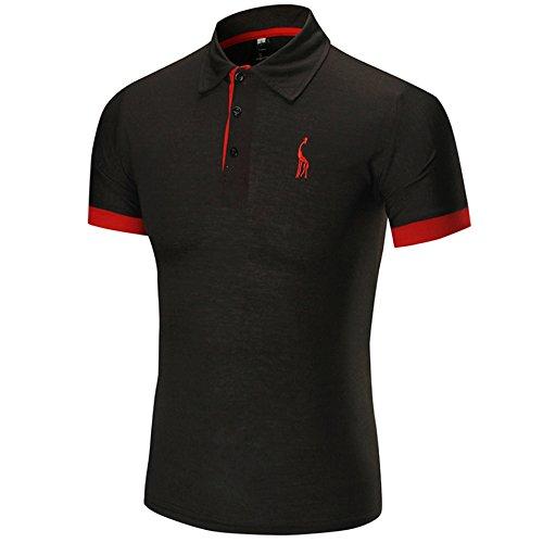 WHLTX T-Shirts Polo Shirt Short Sleeve Revers'S Fashion Männer Farbe Casual Kurze Ärmel Schwarz 3XL -