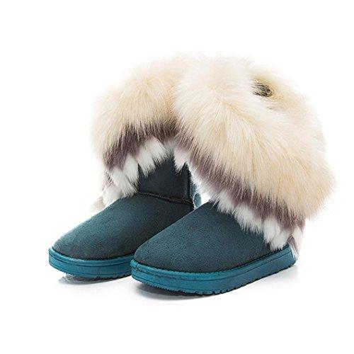 Damen Stiefel,Amlaiworld Frauen Haus Schnee Bootvinculum weiblich warme Schuhe Knöchel Schnürschuh Snow Boots Fell Stiefel Winter warme Schneeschuhe (36, Grün) (Knöchel-espadrille)