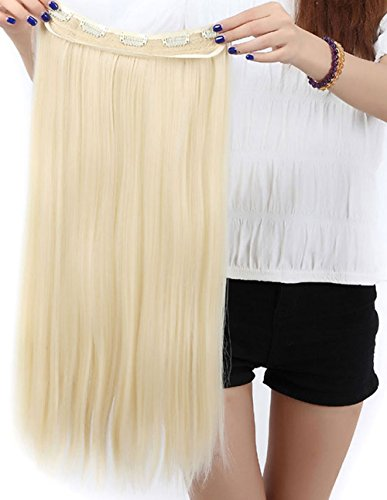 Extension dei capelli, 1 pezzi con 5 clips, 3/4 testa piena, colore: bionda candeggina, dimensioni: 58 cm-dritto
