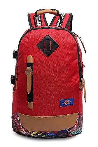 Keshi Nylon Cool Schulrucksäcke/Rucksack Damen/Mädchen Vintage Schule Rucksäcke mit Moderner Streifen für Teens Jungen Studenten Rot