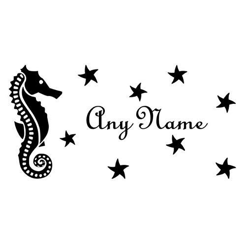 Wandtattoo Seepferdchen Sterne Vinyl Hause Aufkleber Kundenspezifische Name Aufkleber Für Kinder Kinderzimmer Wandaufkleber 30X60 Cm