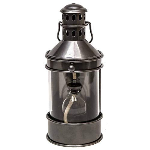 L'Héritier Du Temps Lampe à Pétrole Lanterne à Poser ou à Suspendre Style Ancien en Fer Couleur Gris Patiné Globe en Verre 12x13,5x28cm