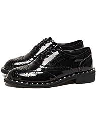 Pump Bullock Shoes 3cm Chunkly Heel en cuir verni Chaussures décontractées Femmes Chaussures à talon rond Chaussures plates Taille 34-43